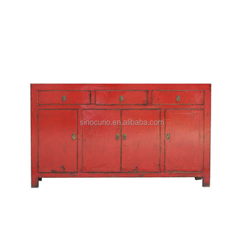 Chinese Antique Wood Furniture Painted Table Buffet Reclaimed Wood Red  Chinese Sideboard