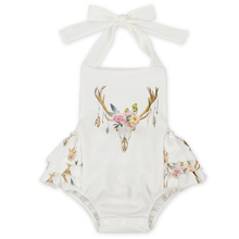 Girl Skull Halter Ruffle Jumpsuit Baby Body Suit Toddler Rompers