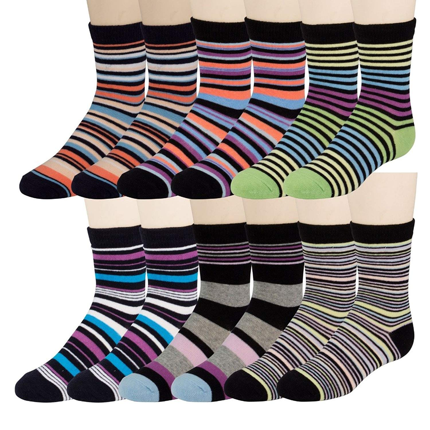 86f81cc42b0e Get Quotations · 12 Pairs excell Boys Dress Socks, 12 pairs, Striped  Colorful Fancy Cotton Socks