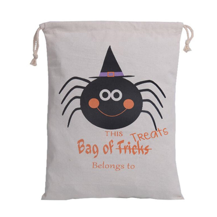 creative Halloween spider print gift pouch canvas drawstring bag