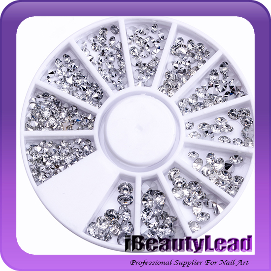 Mixed size acrylic sharp bottom nail rhinestone crystal 3D nail art decoration