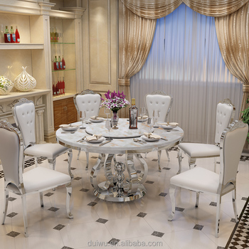 High quality dubai fancy round rotating marble wedding dining table