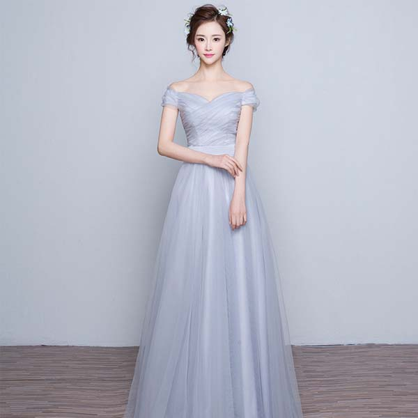 f8ed4b19b8fff أسلوب الكورية نموذج طويل 2017 فستان زفاف العروس صافي وبياضات مادة bridemaid  اللباس الرسمي
