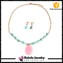 Pink Quartz Pendant Stainless Steel Necklace Set with Turquoise Stone