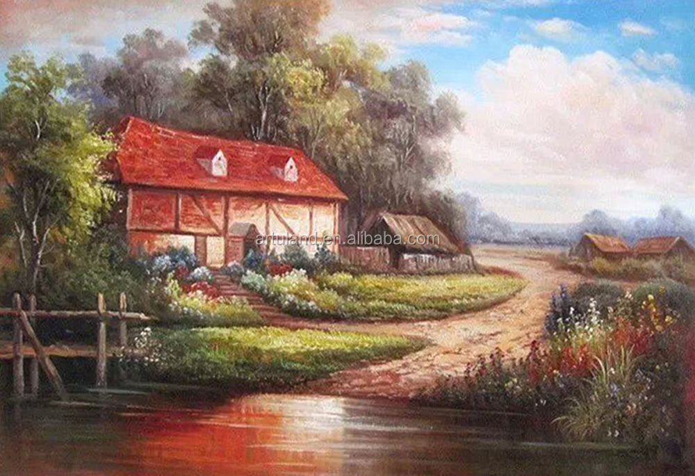 Beautiful Countryside Scenery Painting Of Village House Landscape