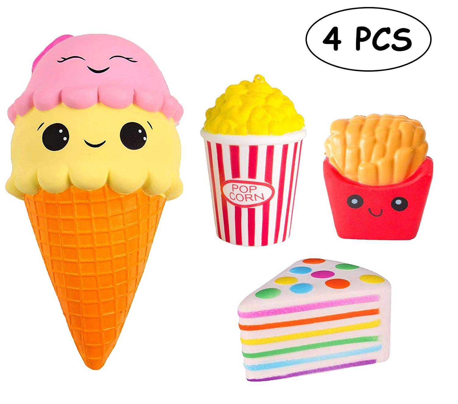TOYHUYI 4pcs Jumbo Squishies Set Popcorn French Fries Ice Cream Scented Rainbow Triangle Cake Slow Rising Squeeze Toy Stress Relief Toy Decorations Hand Pillows Toy for Collection Gift