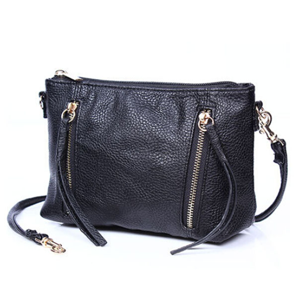 PU leather bags shoulder bag small  handbag with tassels  messenger bag with two zipper black casual bags famous brands V2G25