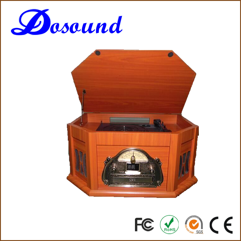 Classical Vinyl Record&Turntable with AUX Input/CD Player/AM,FM Radio