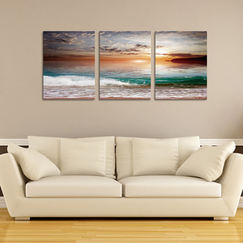Ruang Tamu Tanpa Bingkai Dinding Lukisan Pemandangan Indah