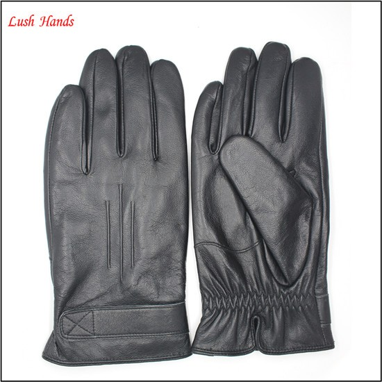 2016 UNISEX fashion black genuine sheepskin gloves