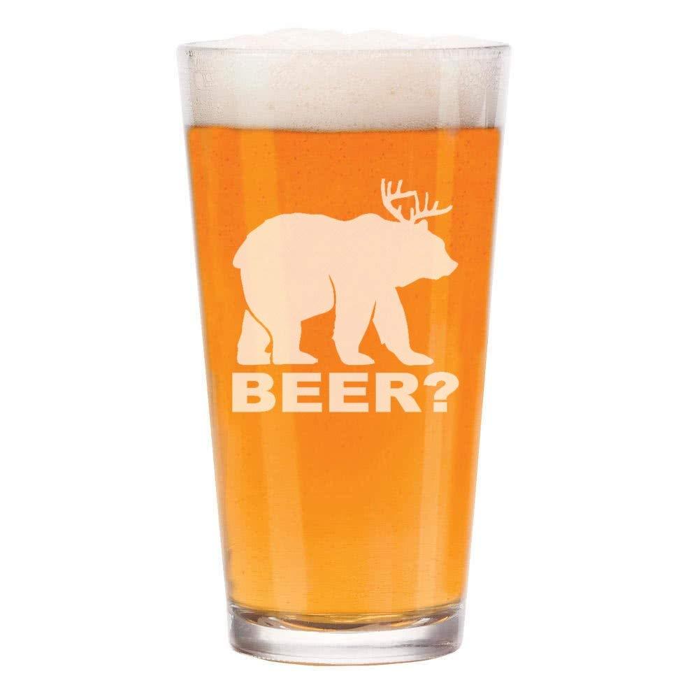 16 oz Beer Pint Glass Deer + Bear = Beer Funny