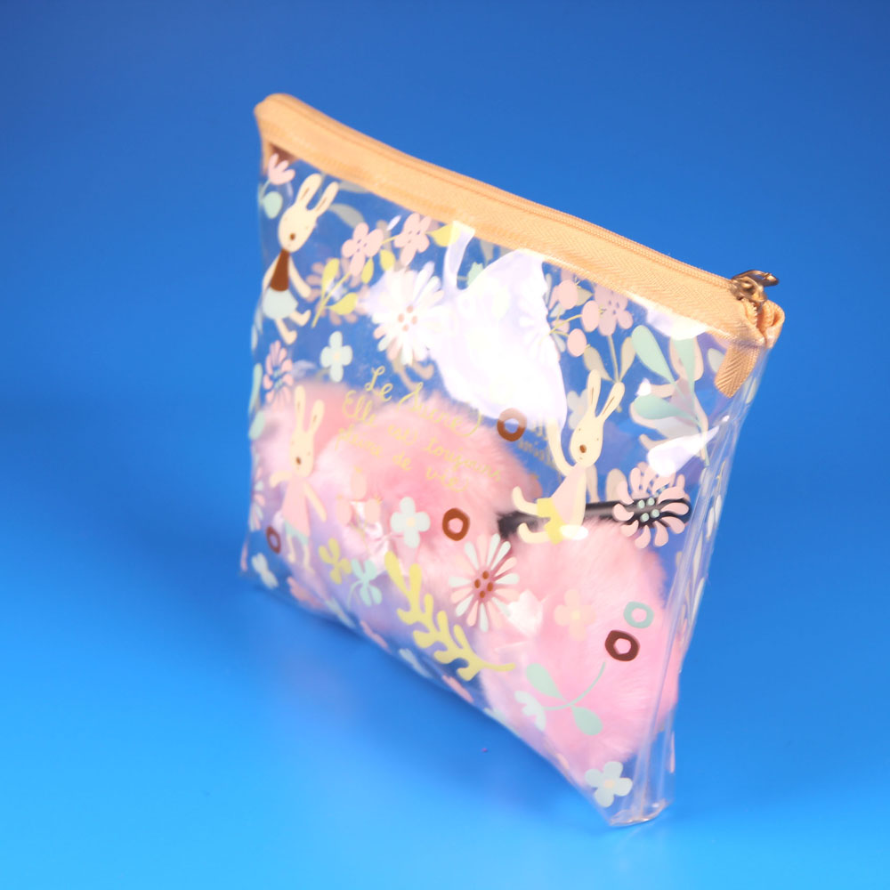 Whole colorful printed PVC pouch clear makeup bag with zipper