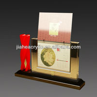 silver plated photo frame with calendar