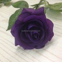 natural touch dark purple rose for wedding decoration fabric flower