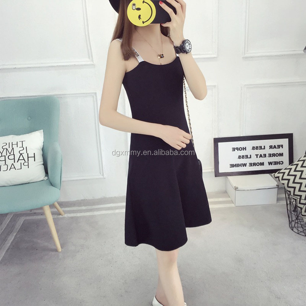 Ice silk knit harness dress women 2017 summer new Korean version of the black fashion A word in the long tide dresses