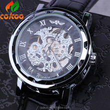 Automatic Skeleton Watch 2015 Fashion Steel Winner Mechanical Men's Watch Relojes