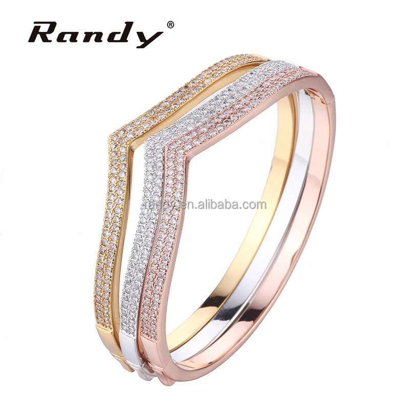 Gold Plated Cubic Zirconia Bracelets Bangle Set Of 3 For Best Friend