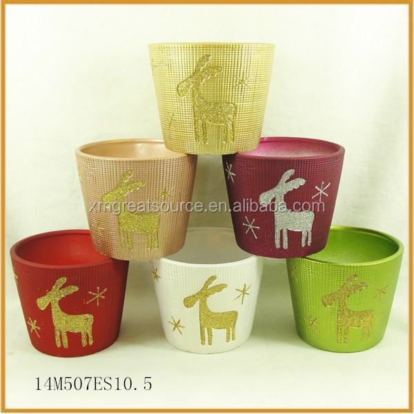 handmade small colorful terracotta plant flower pots with reindeer