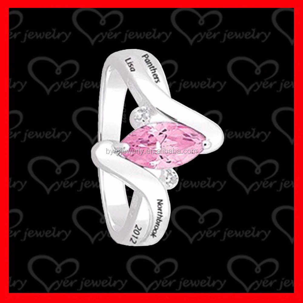 sterling silver class ring for girls with pink ruby