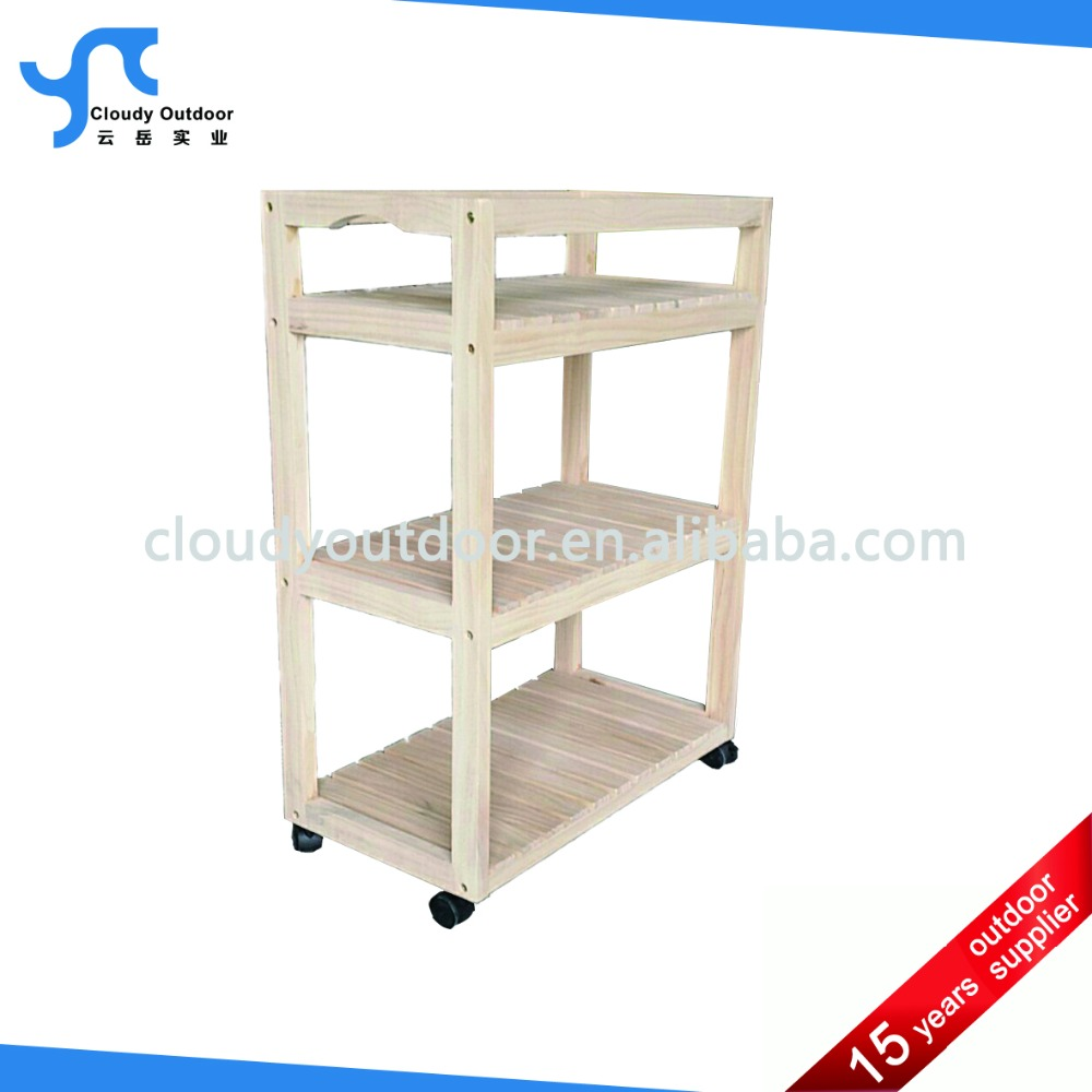 Outdoor Wooden Kitchen Trolley