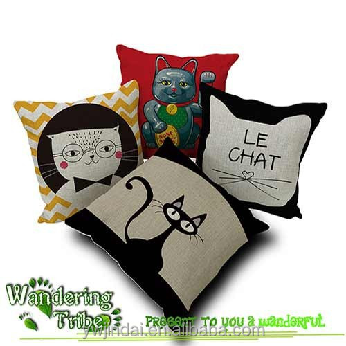 Personality style japanese lucky cat yellow cat digital print pillow lucky gift pillow cushion cover