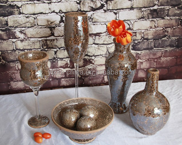 wholesale tall trumpet shaped colorful glass mosaic vase for flower arrangements