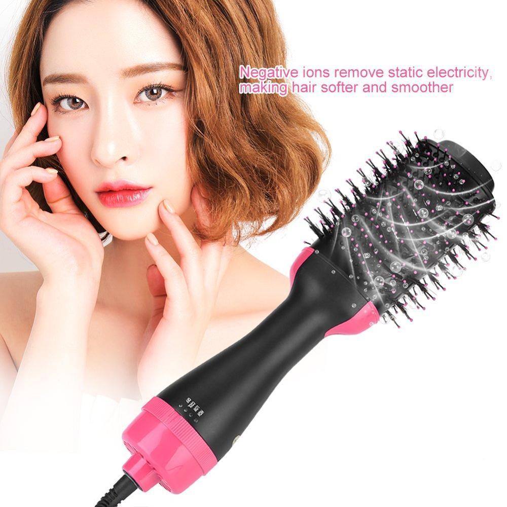 One step Hair Dryer and Volumizer Hot Air Styling Brush Negative Ion Generator Hair Straightener Curler