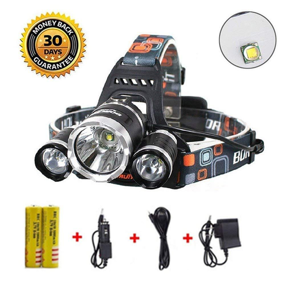 Newest Version OF Brightest and Best LED Headlamp 8000 Lumen flashlight IMPROVED LED, Rechargeable 18650 headlight flashlights Waterproof Hard Hat Light, Bright Head Lights, Camping, Running headlamp