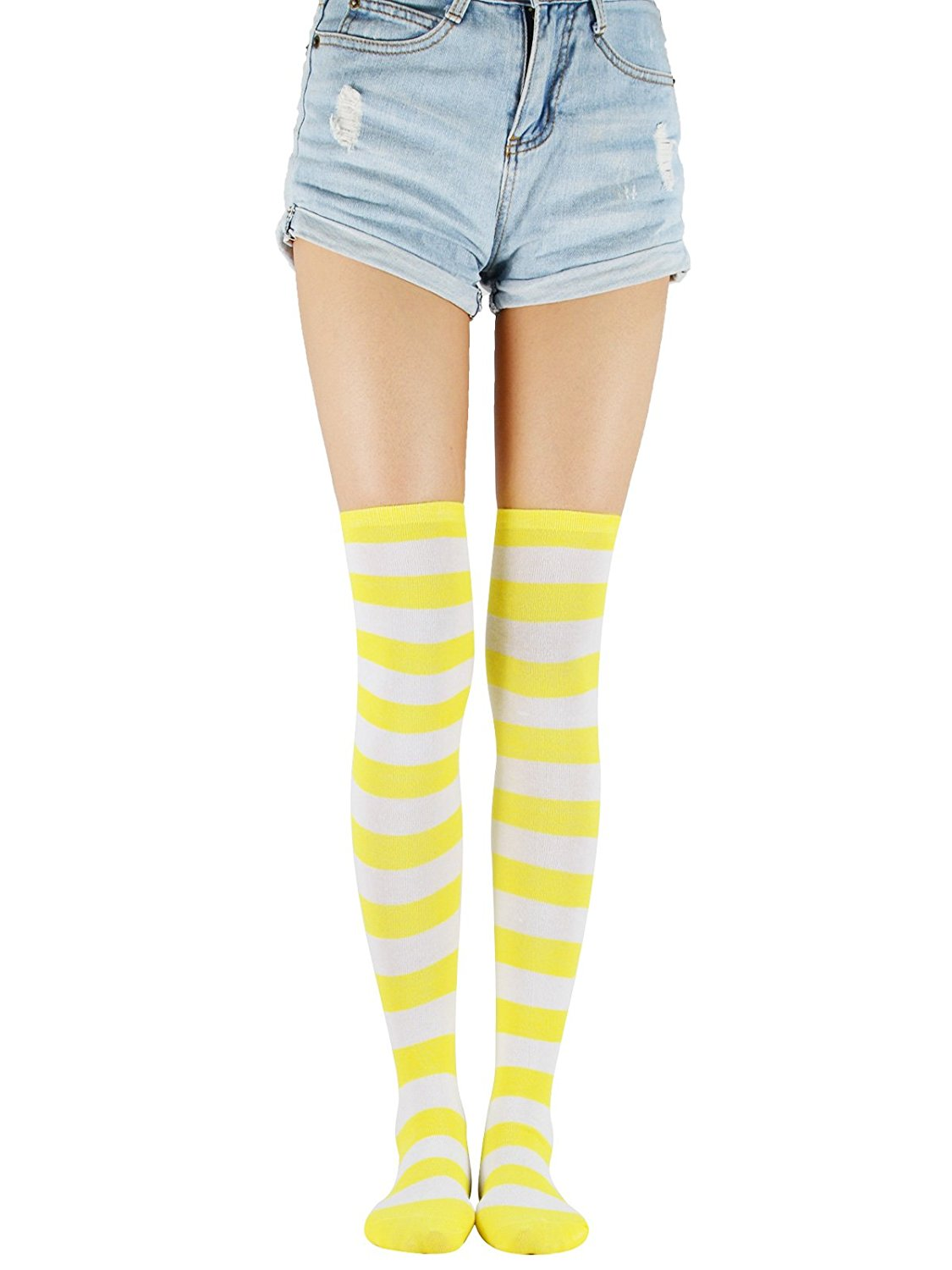 b51bae5b745 Over Knee Long Tube Socks Casual Striped Thigh High Tights Athletic  Stockings Stretchy One Pair Skirt