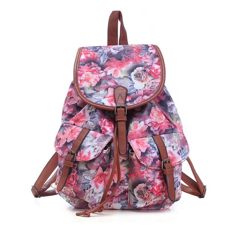 Fancy girls school backpack of walmart audit factory, offset printed floral  flower pattern backpack back 7609c74458