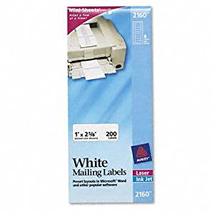 Avery : Mailing Labels for Laser/Inkjet Printers, Mini-Sheet, 1 x 2-5/8, White, 200/Pack -:- Sold as 2 Packs of - 200 - / - Total of 400 Each