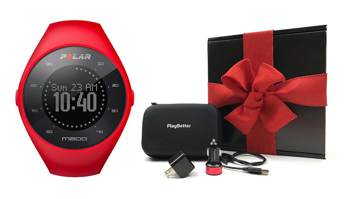 Polar M200 (Red) Gift Box Bundle | Includes GPS Running Watch (with Wrist HR), PlayBetter USB Car & Wall Charging Adapters, Protective Hard Carrying Case