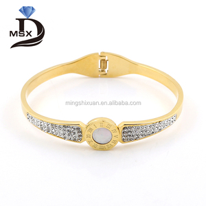 S.steel Jewellery of Cristal oro dorado bangle de pulseras al por mayor