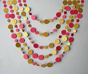 Bridal shower decor, Pink Gold wedding garland, Gold pink garland, gold decor, Paper garland, Birthday Decor, Wedding decoration,