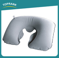 Toprank SGS Inspection Accepted Novelty PVC Folding U Shape Travel Neck Pillow Air Inflatable Pillow With Pouch