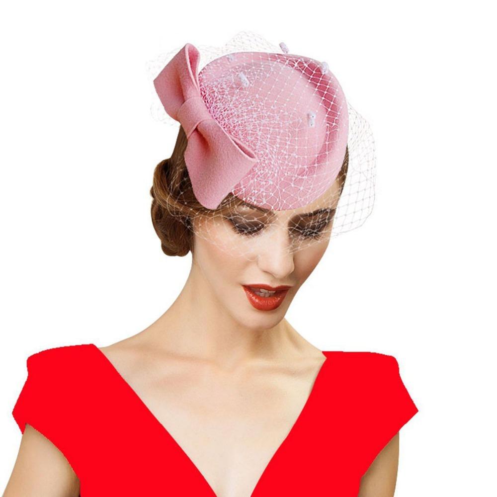 Get Quotations · New Church Girls Fashion Bow Veil Small fedoras Sinamay  Fascinator Fedora Hat Women Wedding Headwear Cap fee8a1d20b0a