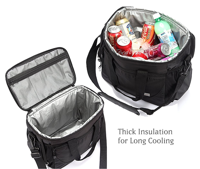 Large Cooler Tote Bag Portable Thermal Lunch Box Insulated Lunch Bag for Men, Women, kids adult pininc With Adjustable Strap