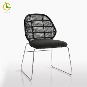 50% discount factory supply modern design cheap round wicker outdoor sling stacking chair