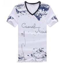 Luxury Men wholesale rock band v-neck white om printed T-shirts