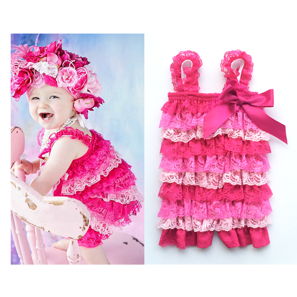 ca6b844230d6 Get Quotations · 1PC Infant Pink With Hot Pink Pretty Girls Baby Lace Ruffle  Bowknot Petti Rompers Photo Prop