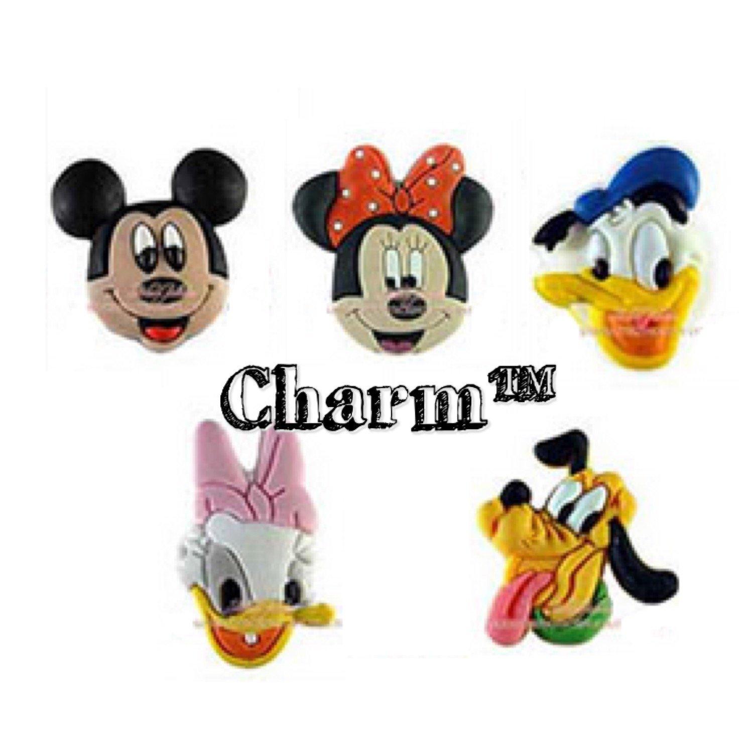 ca02123dd Get Quotations · Disney Mickey Minnie Mouse Jibbitz (Generic) Set of 5 PVC  Jibbitz Crocs Natives Party