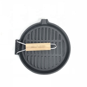 Cast Iron  Frying Pan Wooden Handle Folding Portable Square Grill Pan, 24cm