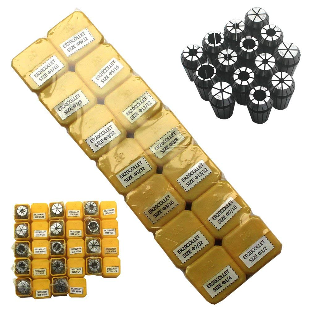 "KIPA ER20 14 PCS Spring Collet Set 1/16"" 3/32"" 1/8"" 5/32"" 3/16"" 7/32"" 1/4"" 9/32"" 5/16"" 11/32"" 3/8"" 13/32"" 7/16"" 1/2"" CNC Super Precision for CNC milling Lathe Tool & Workholding Engraving machines"