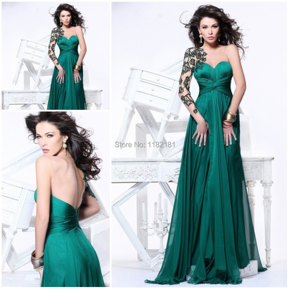 2209ce114c7 Get Quotations · Emerlad Green Lace Appliques Single Long Sleeve Sweetheart Chiffon  Evening Dress Prom Gown Plus Size 2014