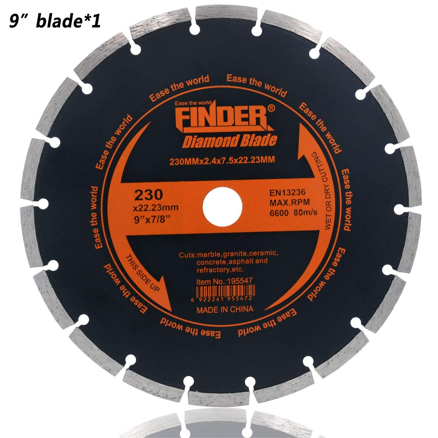 "Finder General Purpose Premium Segmented Diamond Blade For Tile Brick Concrete Field Stone Masonry Materials Wet Dry Cutting (1 Pack of 9"" Blade)"