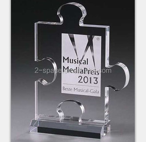 plexiglass puzzle shape award stand laser etch custom puzzle award stand