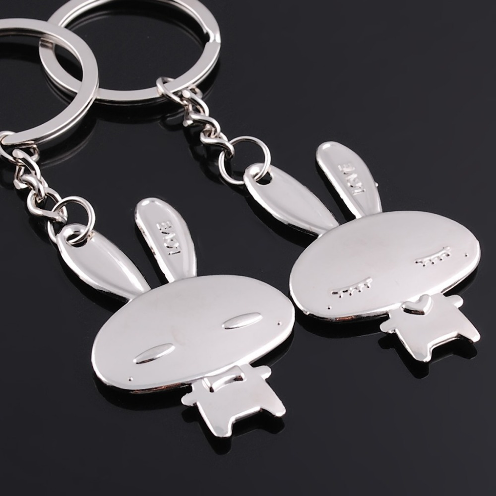 Love Couple Key Rings Double Lovely Rabbit Charms Engraved Letter Pendant Keychain For Lovers