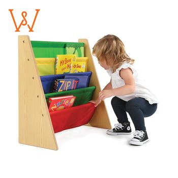 Light Weight Children Bookshelf Solid Oak Furniture For Nursery Toddler