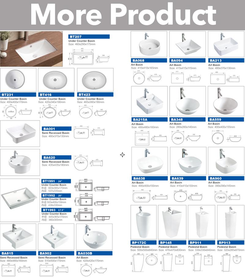 BT415A 現代デザイン浴室セラミック薄膜エッジキャビネット洗面カウンタートップ洗面台