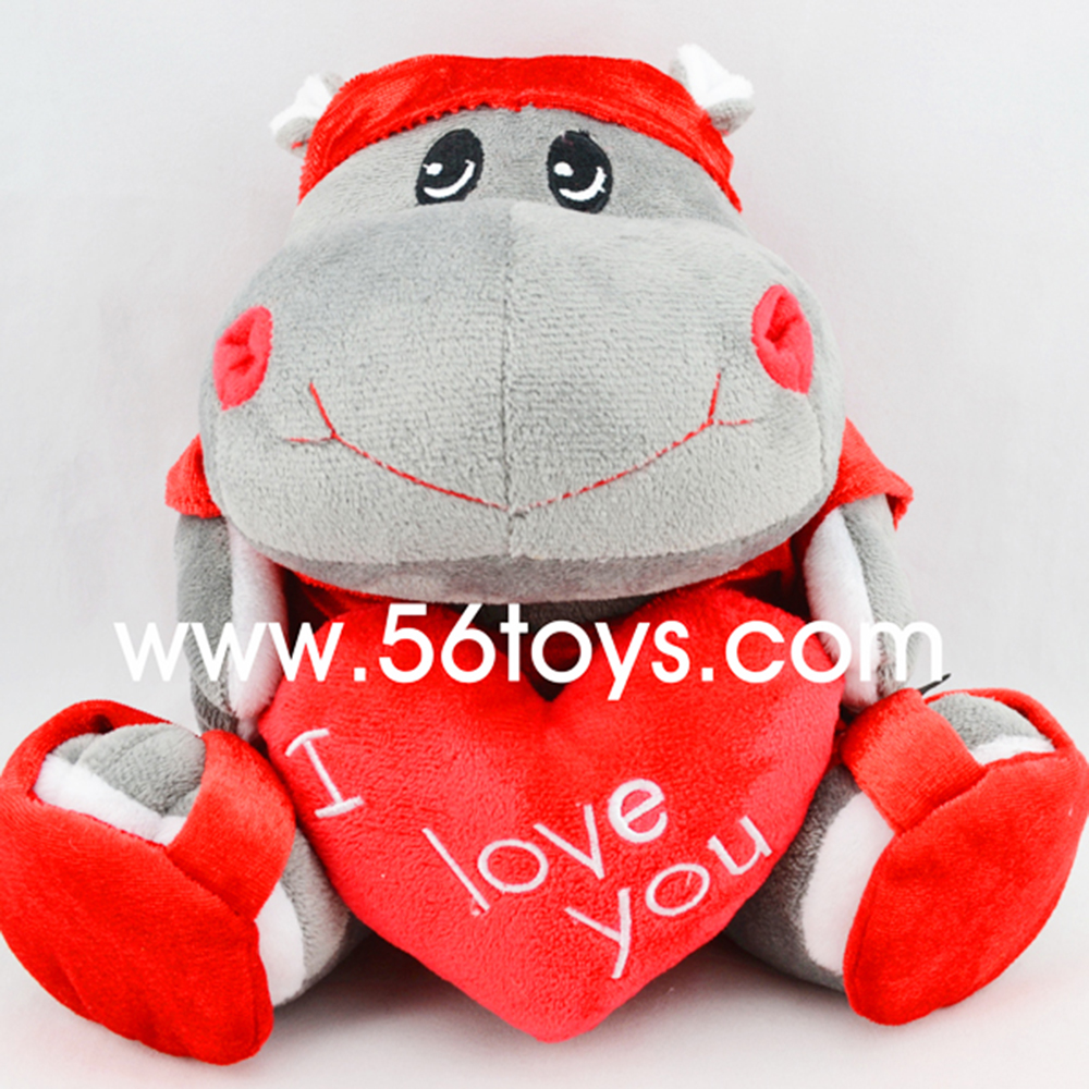 Nice shape happy animal plush toy, sitting stuffed hippo with red heart